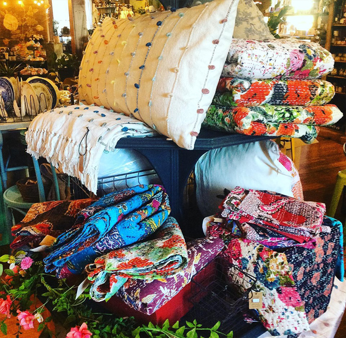 Shopping for Blankets and Quilts in Downtown Mendocino Village Astoria Home Store and Gift Shop 45050 Main Street Mendo Coast North Coast Blanket and Quilt Shopping