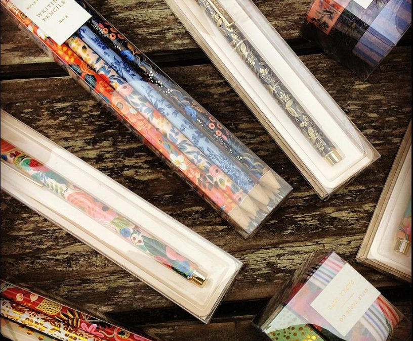 You can never have enough pens, pencils, and washi tape!  Restocked on our favorites from Rifle Paper CO  — these make great stocking stuffers  and appeal to kids and adults alike!