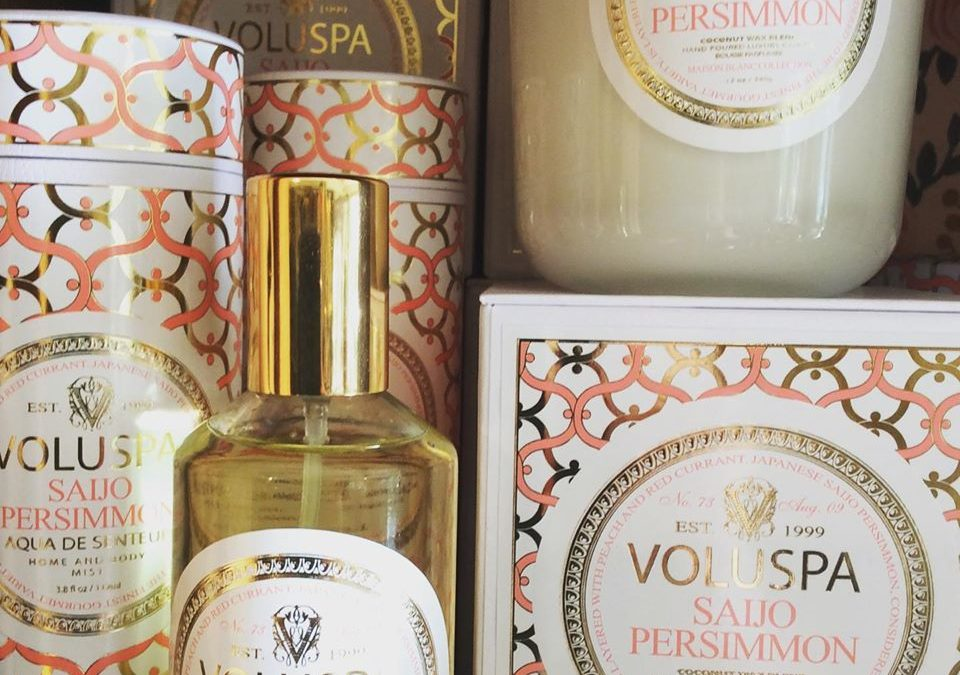 Favorite thing #4:  Voluspa's Saijo Persimmon candle and room spray.  One of our all-time favorite scents:  it's citrusy, yet not too sweet, with a little spice.  This is one of our best sellers  and the little candles make great stocking stuffers.