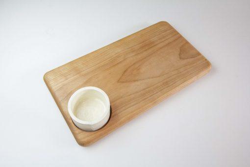 Birch Hardwood Cheese Board with Seated Ramekin Ramikin USA MADE IN USA Handcrafted in Mendocino California North Coast Gifts of Mendocino Handmade Top