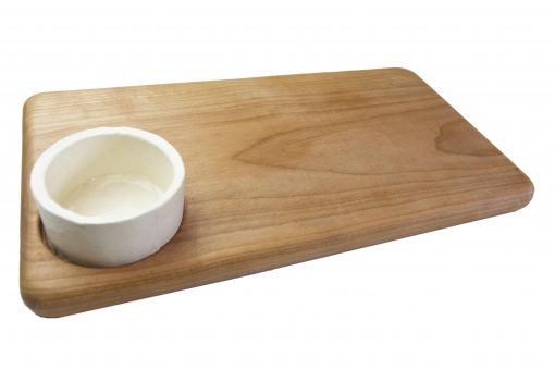 Birch Hardwood Cheese Board with Seated Ramekin Ramikin USA MADE IN USA Handcrafted in Mendocino California North Coast Gifts of Mendocino Handmade White Background