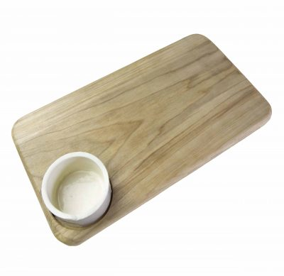 Poplar Wood Cheese Board with Ramekin Ramikin USA MADE IN USA Handcrafted in Mendocino California North Coast Gifts of Mendocino Handmade Seated Ramekin Topside