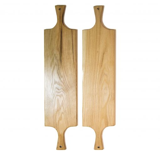 Two Double Handled Large Red Oak Hardwood Charcuterie Board Set - Double Deal Sale - USA MADE IN USA - Locally Handmade Handcrafted in Mendocino Village - Cheese Cutting Board 2