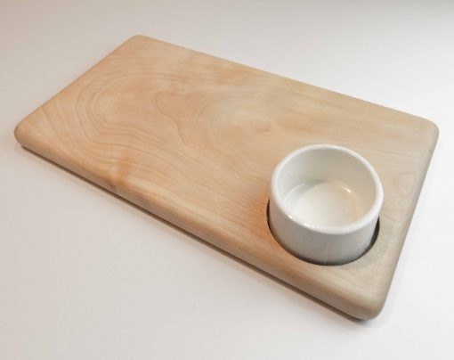 USA Made in USA Birch Cheese Board with Ceramic Ramekin Handmade Handcrafted in Mendocino Village Gift Shopping Gifts
