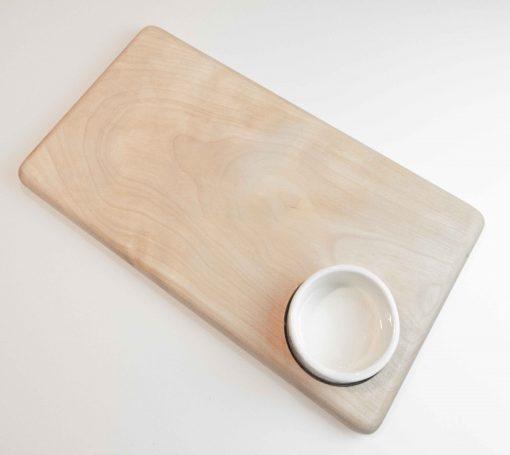 USA Made in USA Birch Cheese Board with Ceramic Ramekin Handmade Handcrafted in Mendocino Village Gift Shopping Locally