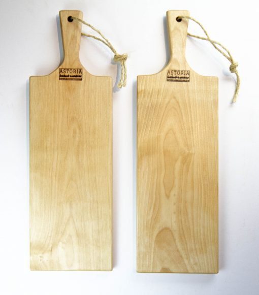 Birch Hardwood Medium Long Charcuterie Board Hand Crafted in Mendocino Village - Wood Paddle Cutting Board Jute Twine Handle Double Combo Sale Deal