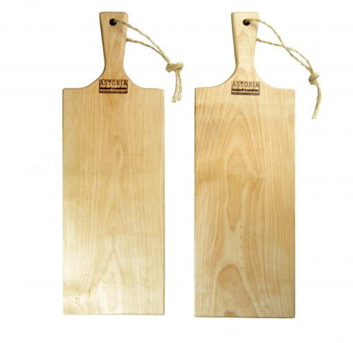 Birch Hardwood Medium Long Charcuterie Board Hand Crafted in Mendocino Village - Wood Paddle Cutting Board Jute Twine Handle Double Combo Sale Deal White
