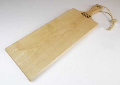 Birch Hardwood Medium Long Charcuterie Board Hand Crafted in Mendocino Village - Wood Paddle Cutting Board Jute Twine Handle Side Profile
