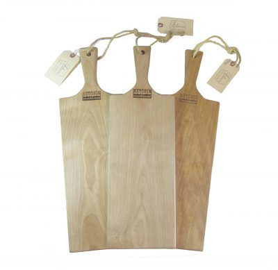 Birch Hardwood Medium Long Charcuterie Board Hand Crafted in Mendocino Village - Wood Paddle Cutting Board Jute Twine Handle Triple Combo Sale Deal White