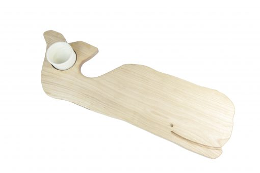 Birch Whale Shaped Charcuterie Board Platter With Seated Ceramic Ramekin - Gift Shopping - Whale Cheese Board - USA MADE IN USA - Handcrafted in Mendocino Woodworking