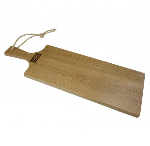 Red Oak Hardwood Medium Long Charcuterie Board Hand Crafted in Mendocino Village - Wood Paddle Cutting Board Jute Twine Handle 1
