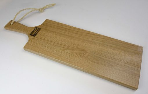 Red Oak Hardwood Medium Long Charcuterie Board Hand Crafted in Mendocino Village - Wood Paddle Cutting Board Jute Twine Handle