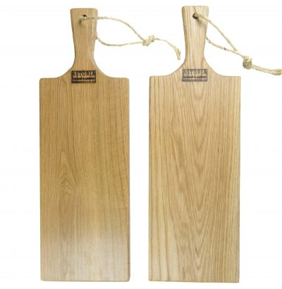 Red Oak Hardwood Medium Long Charcuterie Board Hand Crafted in Mendocino Village - Wood Paddle Cutting Board Jute Twine Handle Double Combo Deal 2