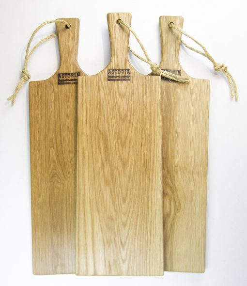 Red Oak Hardwood Medium Long Charcuterie Board Hand Crafted in Mendocino Village - Wood Paddle Cutting Board Jute Twine Handle Double Combo Deal 3