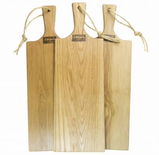 Red Oak Hardwood Medium Long Charcuterie Board Hand Crafted in Mendocino Village - Wood Paddle Cutting Board Jute Twine Handle Double Combo Deal 3 Three