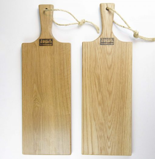 Red Oak Hardwood Medium Long Charcuterie Board Hand Crafted in Mendocino Village - Wood Paddle Cutting Board Jute Twine Handle Double Combo Deal