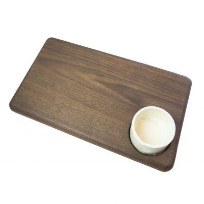 USA MADE IN USA - Handcrafted in Mendocino Village - Solid Dark Walnut Cheese Board - Hardwood - Housewarming Gifts - Picnic Supplies - Drilled Seated Ramekin
