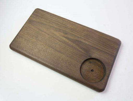 USA MADE IN USA - Handcrafted in Mendocino Village - Solid Dark Walnut Cheese Board - Hardwood - Housewarming Gifts - Picnic Supplies - Drilled Seated Ramekin