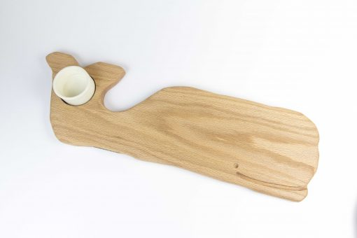 Solid Red Oak Whale Shaped Charcuterie Board Platter With Seated Ramekin - Gift Shopping Whale Cheese Board - USA MADE IN USA Handcrafted in Mendocino Woodworking