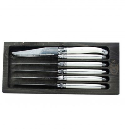 Laguiole Jean Dubost 6 Steak Knives with White Handles in Black Tray