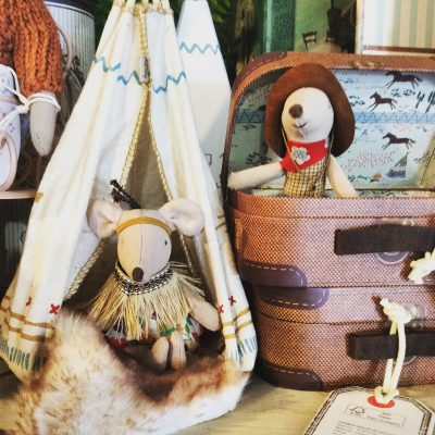 Maileg Little Brother Cowboy in Suitcase and Little Sister Indian in teepee - Little Brother Mouse in Suitcase - Gift Set Grouping In Shop