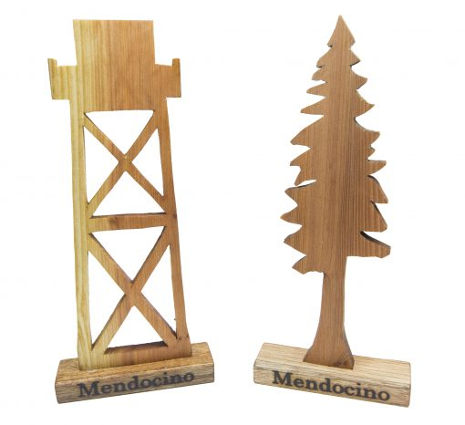 Mendocino Keepsake Mendocino Souvenir Gifts Set – Locally Handcrafted Woodworking Mendocino Village Water Tower Redwood Tree combo Gift Collection
