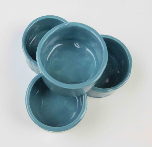 Ramekin Set of Four - USA MADE IN USA - Charcuterie Food Serving - Aqua Fresca Green Ramekins - Handcrafted Mendocino Handmade California
