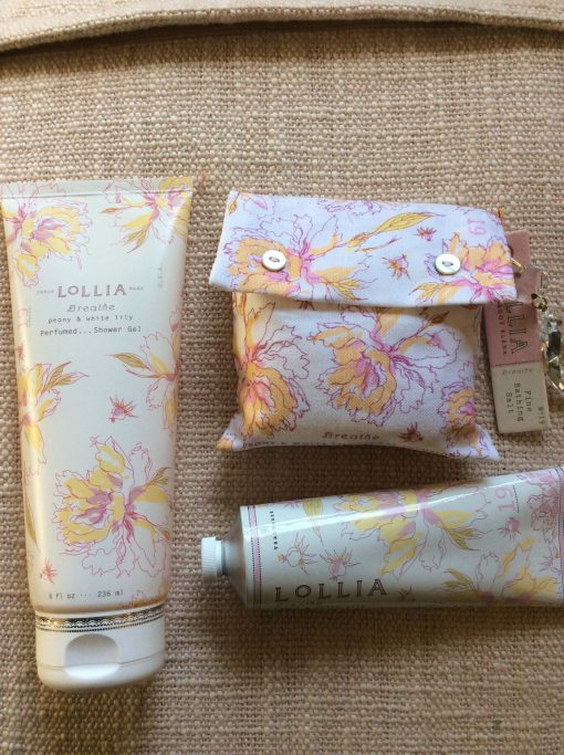 Shopping For Lollia Breath Collection 4oz Shea Butter Hand Cream 8 OZ Perfumed Shower Gel and Bath Salt Sachet With Charm