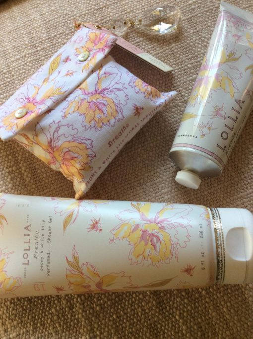 Shopping For Lollia Breath Collection 4oz Shea Butter Hand Cream 8 OZ Perfumed Shower Gel and Bath Salt Sachet With Charm set