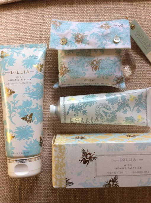 Shopping For Lollia Wish Collection 4oz Shea Butter Hand Cream 8 OZ Perfumed Shower Gel and Bath Salt Sachet With Charm