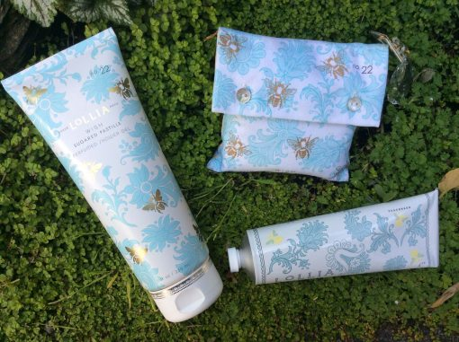 Shopping For Lollia Wish Collection 4oz Shea Butter Hand Cream 8 OZ Perfumed Shower Gel and Bath Salt Sachet With Charm Set
