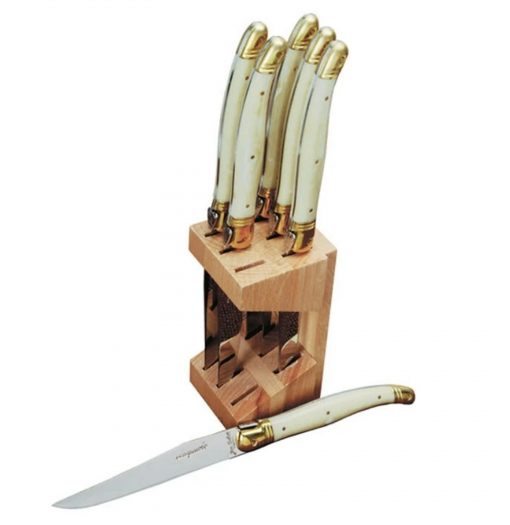 Shopping for Laguiole 6-Piece Steak Knife Wood Block Set in Ivory and Gold