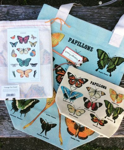 textiles from Cavallini Papers make useful and affordable gifts This butterfly bundle includes a tote tea towel and pouch - Astoria Home Decor and Gifts Mendocino Village Gift Store