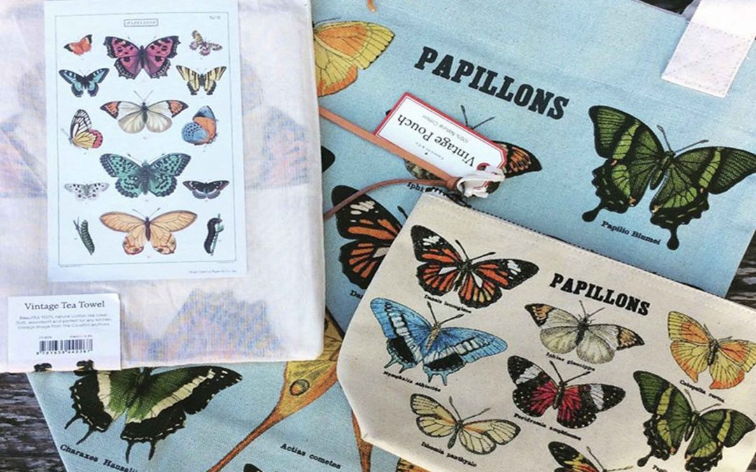 Our popular textiles from Cavallini Papers make useful and affordable gifts!  This butterfly bundle includes  a tote, tea towel, and pouch.  $48 plus tax and ships free!  Great gift for Mom or Grandma for Mother's Day