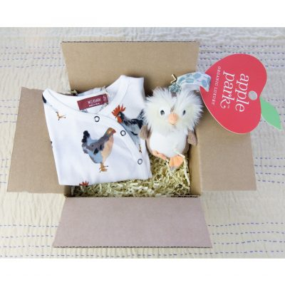 Care Package Gift Set - Mendocino - Baby Clothes and Accessories - Chicken Rooster Footed Romper and Owl Stroller Toy - Gift Shop