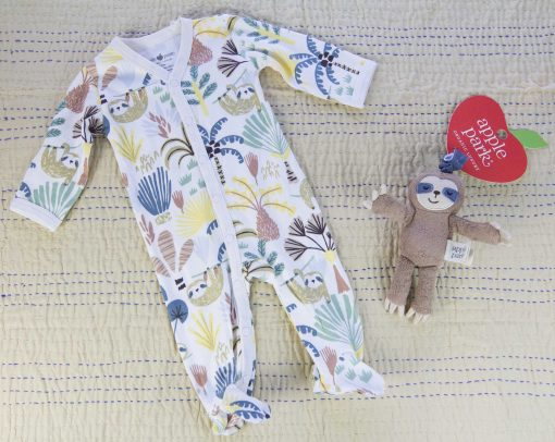 Care Package Gift Set - Mendocino - Baby Clothes and Accessories - Panda Bear Footed Romper and Sloth Stroller Toy - Mendo Gift Shop