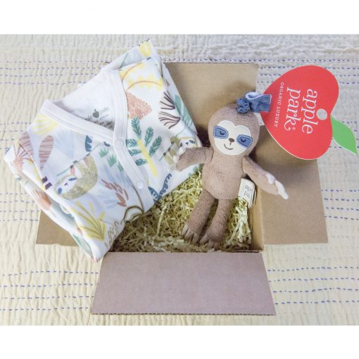 Care Package Gift Set - Mendocino - Baby Clothes and Accessories - Panda Bear Footed Romper and Sloth Stroller Toy - Mendo Gift Shops