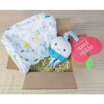 Care Package Gift Set - Mendocino - Baby Clothes and Accessories - Sea Life Footed Romper and Octopus Stroller Toy - Mendo Gift Shops