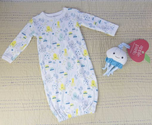 Care Package Gift Sets - Mendocino - Baby Clothes and Accessories - Sea Life Footed Romper and Octopus Stroller Toy - Mendo Gift Shops