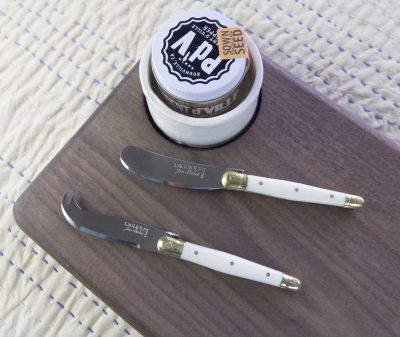 Curated Gift Package - USA MADE IN USA Black Walnut Charcuterie Board Seated Ramekin - Locally Grown Chili Powder - Piment DVille - Laguiole Cheese Knife