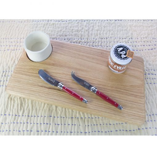 Curated Gift Package - USA MADE IN USA Charcuterie Board Seated Ramekin - Locally Grown Chili Powder - Piment DVille - Red Laguiole Cheese Knife and S