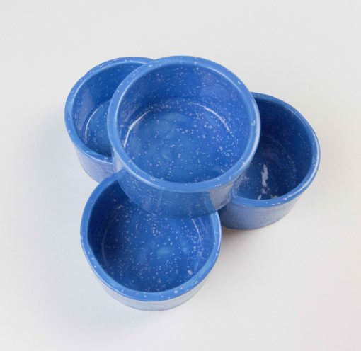 Ramekin Set of Four - USA MADE IN USA - Charcuterie Food Serving - Blue with White Sprinkles Splotches Ramekins - Handcrafted Mendocino Handmade California