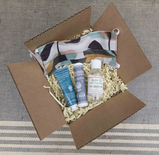 Curated Gift Package - Curated Care Package - Mendocino Village Gift Shop - Fir and Grapefruit Hand Sanitizer - Face Mask - Sugar and Cream Lip Balm - Spanish Lime Hand Lotion