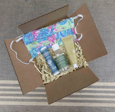Curated Gift Package - Curated Care Package - Mendocino Village Gift Shop - Honey Mint Hand Sanitizer - Face Mask - Spanish Lime Lip Balm - Lemon Verbena Lotion