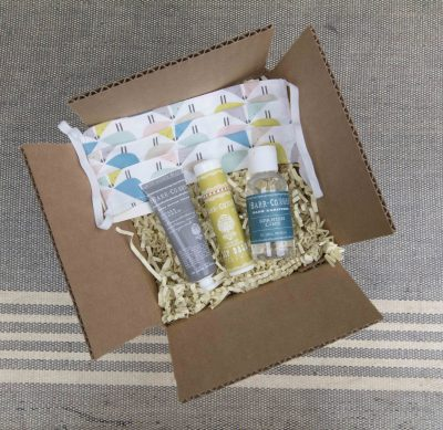Curated Gift Package - Curated Care Package - Mendocino Village Gift Shop - Spanish Lime Hand Sanitizer - Face Mask - Lemon Verbena Lip Balm - Sugar and Cream Lotion