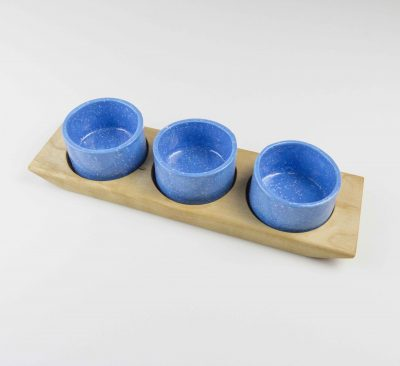 Food Serving Ramekin Rack Made in USA MADE in Mendocino 3 Food safe Ramekins Birch Board Blue With White Speckled Ramekins