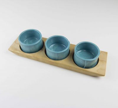 Food Serving Ramekin Rack Made in USA MADE in Mendocino 3 Food safe Ramekins Birch Board With Aqua Fresca Ramekins