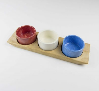 Food Serving Ramekin Rack Made in USA MADE in Mendocino 3 Food safe Ramekins Birch Board With Red White and Blue Ramekins