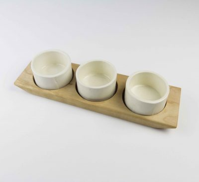 Food Serving Ramekin Rack Made in USA MADE in Mendocino 3 Food safe Ramekins Birch Board With White Ramekins