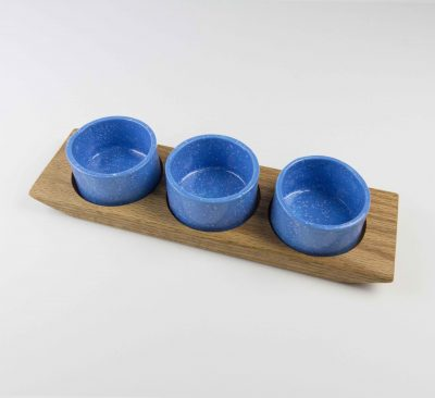 Food Serving Ramekin Rack Made in USA MADE in Mendocino 3 Food safe Ramekins Red Oak Board Blue With White Speckled Ramekins